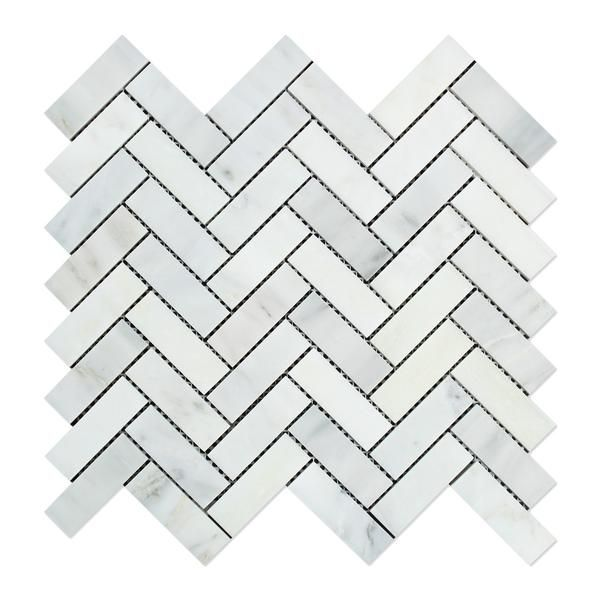 Premium (SELECT) Quality ORIENTAL WHITE / ASIAN STATUARY MARBLE 1 X 3 HERRINGBONE MOSAIC TILE POLISHED, Shower, Backsplash, Bathroom, Kitchen, Decorative, Floor, Wall, Ceiling, Powder Room, Deck & Patio, Countertop, Commercial and Residential (Interior & Exterior), Indoor, Outdoor
