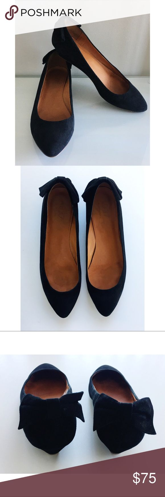 Madewell Bow Back Mini Wedge Black Suede 9.5 ITEM: The Bow Mini Wedge BRAND: Madewell COLOR: Black  SIZE: 9.5 CONDITION: very lightly pre-loved! well-cared for MATERIAL: suede upper, man made sole MEASUREMENTS: fits tts Madewell Shoes Wedges