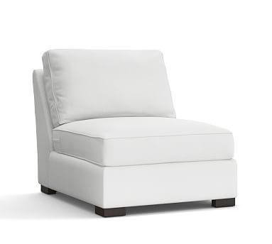 Townsend Upholstered Armless Chair, Polyester Wrapped Cushions, Washed Linen/Cotton White