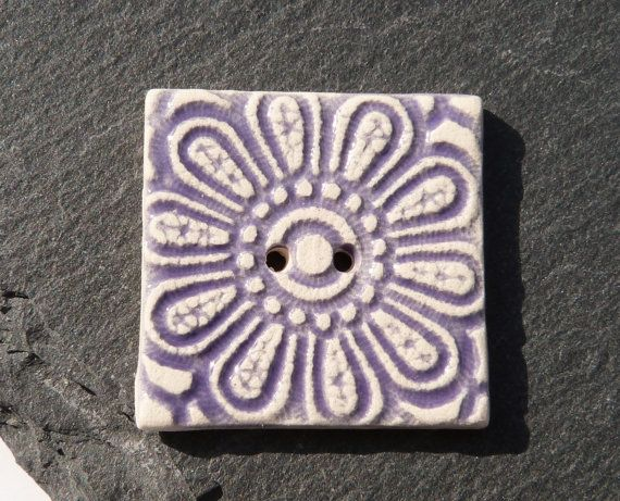 Ceramic Button Square Shape With Purple Flower by craftysewnsews