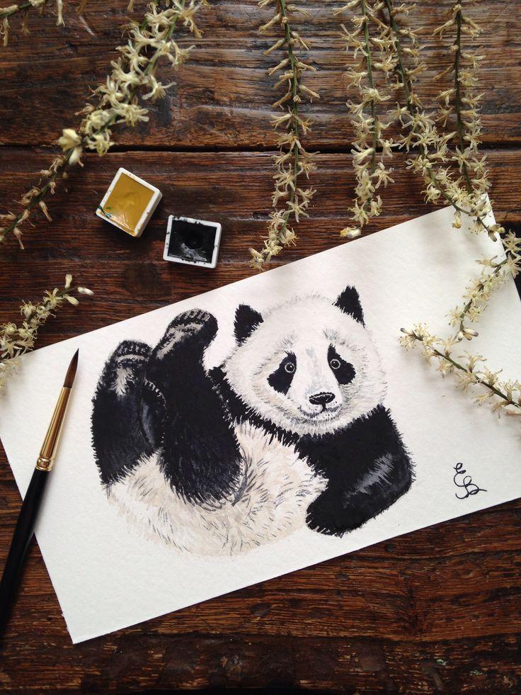 Watercolor aquarelle painting panda by Eli Bichita