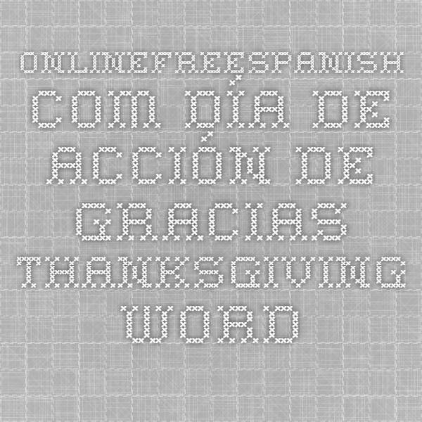 OnlineFreeSpanish.com - Día de acción de gracias - Thanksgiving - Word Search Puzzle