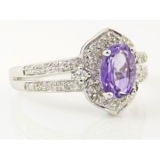 9CT W/GOLD AMETHYST & DIAMOND CLUSTER RING - $639.00