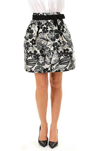 Kocca - Gonne - Abbigliamento - Gonna a palloncino con stampa a fantasia floreale, tasche laterali. Zip di chiusura sul retro e fiocchetto. - F6018 - € 99.00