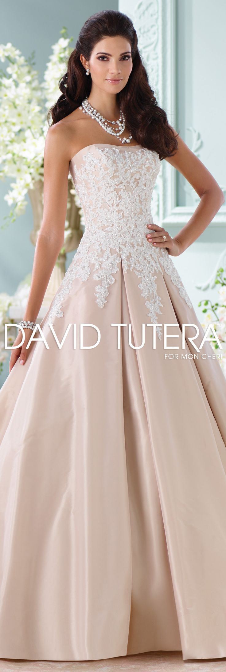 The David Tutera for Mon Cheri Spring 2016 Wedding Gown Collection - Style No. 116217 Alleen  #laceweddingdresses