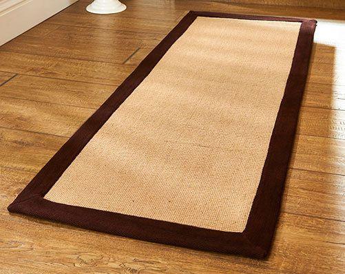 natural neutral chocolate brown anti slip latex backed jute runner mat
