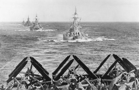US battleships en route to Ulithi, 2 December 1944: 16 in USSs Washington, North Carolina (sisters) and the later South Dakota viewed from carrier USS Ticonderoga.