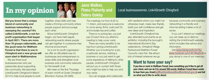 Article in the Waltham Forest News about #Link4Growth #Chingford