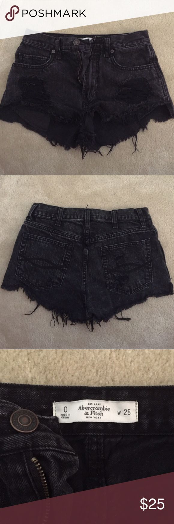 Black Abercrombie and Fitch Shorts Black distressed denim Shorts from Abercrombie and Fitch. Rips on the front of both legs. Only worn once. Abercrombie & Fitch Shorts Jean Shorts