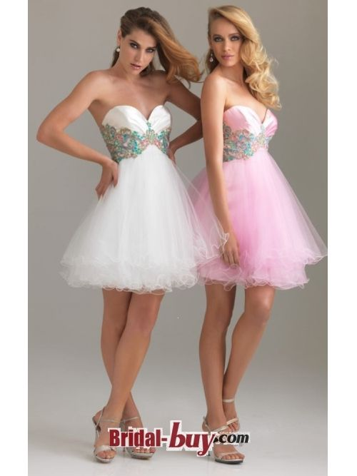 Buy Custom Made High Quality 2012 Style Pink A-line Sweetheart Sleeveless Short / Mini Elastic Woven Satin and Organza Prom Dress/ Homecoming Dress Under 200 HD-10065 at wholesale cheap prices from Bridal-Buy.com