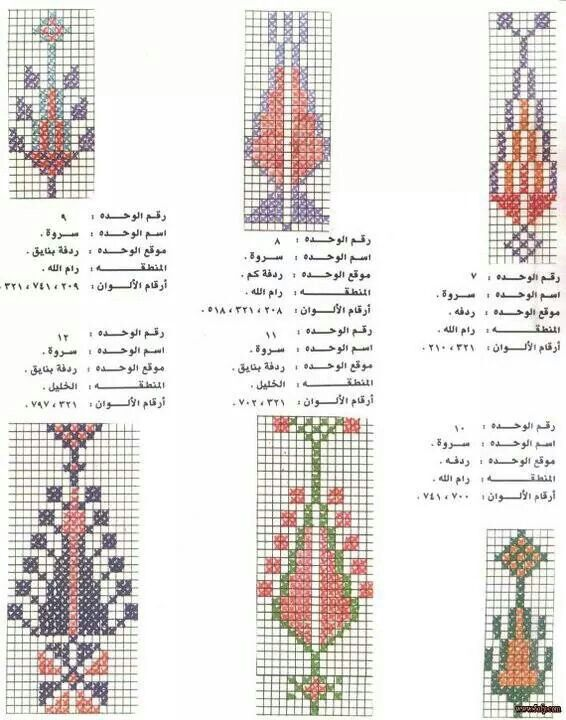 """Palestinian embroidery - variations on the """"cypress tree"""" motif."""