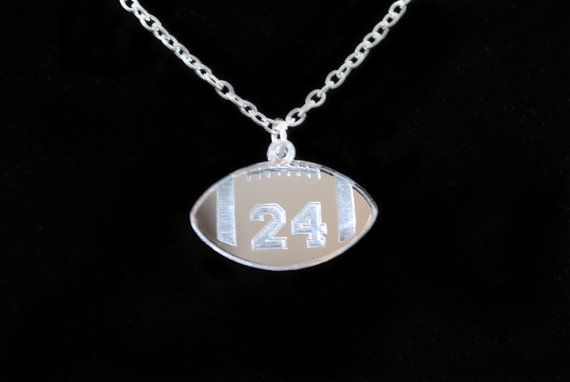 Football Necklace - Mirror Acrylic football necklace cusomized with any number by Chicago Factory