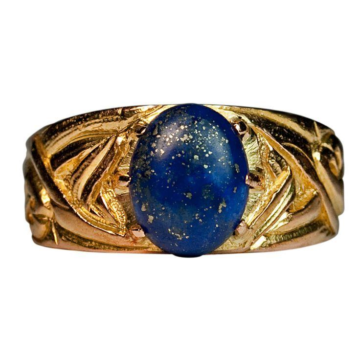 Russian Art Nouveau Gold Lapis Men's Ring | From a unique collection of vintage solitaire rings