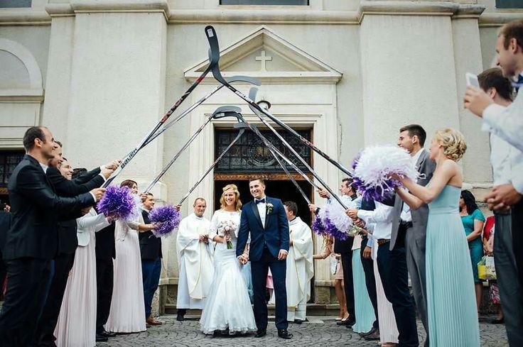 Hockey wedding photo