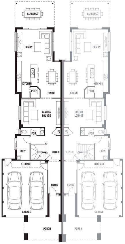 186 best floor plans duplex images on pinterest floor for Dual occupancy home designs corner block