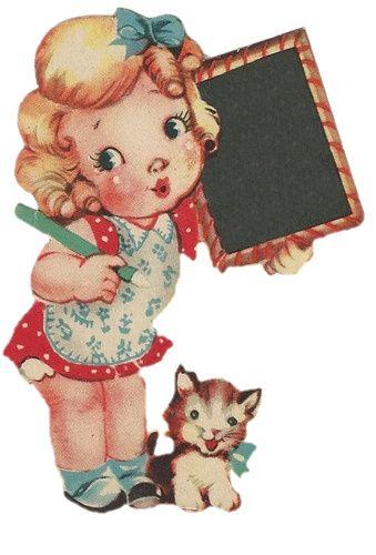 Doucement Mis à la ferraille: * gratuit * Vintage Valentine Fille tenant un tableau noir ....