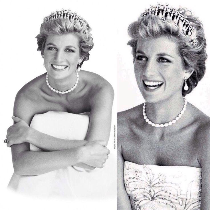 Princess Diana wearing diamond tiara and pearl necklace