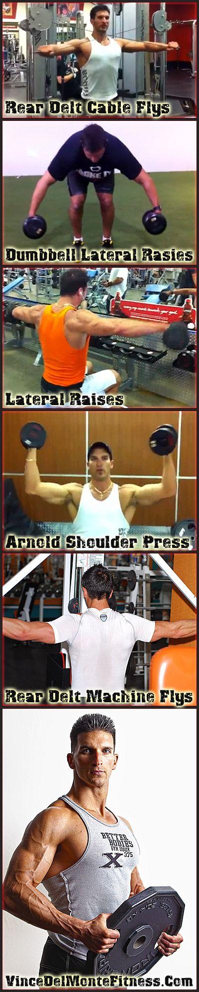 Best shoulder exercises for large defined shoulders. http://www.vincedelmontefitness.com/blog/5545/the-best-shoulder-exercises-for-mass/