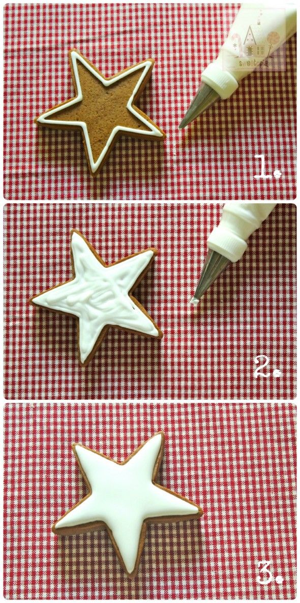Step by step how to flood a star cookie with icing