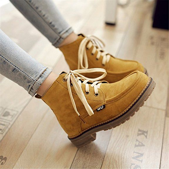 FeeBee Womens' Nubuck Leather Round Toe Lace-up Low Heel Martion Ankle Combat Boots Beige 40 EU / 8.5 US: Amazon.ca: Shoes & Handbags