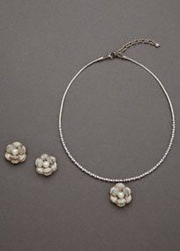 Enamel Pearl Flower Set, Style SE2008 #davidsbridal #jewelry #flowers: Collar Necklace, Crystal Detail, Pearl Flower, Bridal Earrings Pearl, Flower Earrings