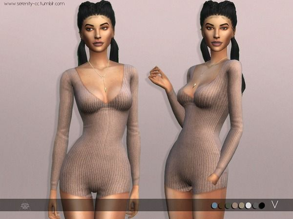 V Bodysuit Romper by serenity-cc at TSR via Sims 4 Updates