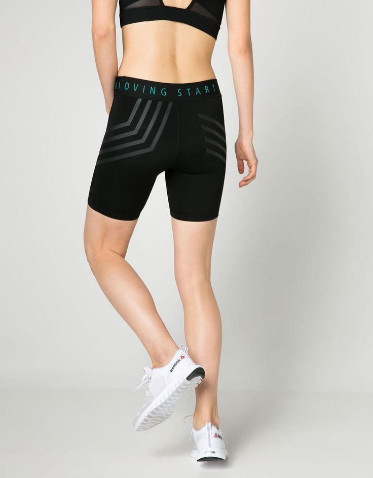 Stripes and text technical biker shorts - Sport Start Moving - Bershka Sweden