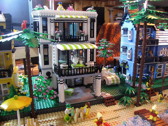 Very fun Lego beach house.  The Lime green is perfect with the black and white house.