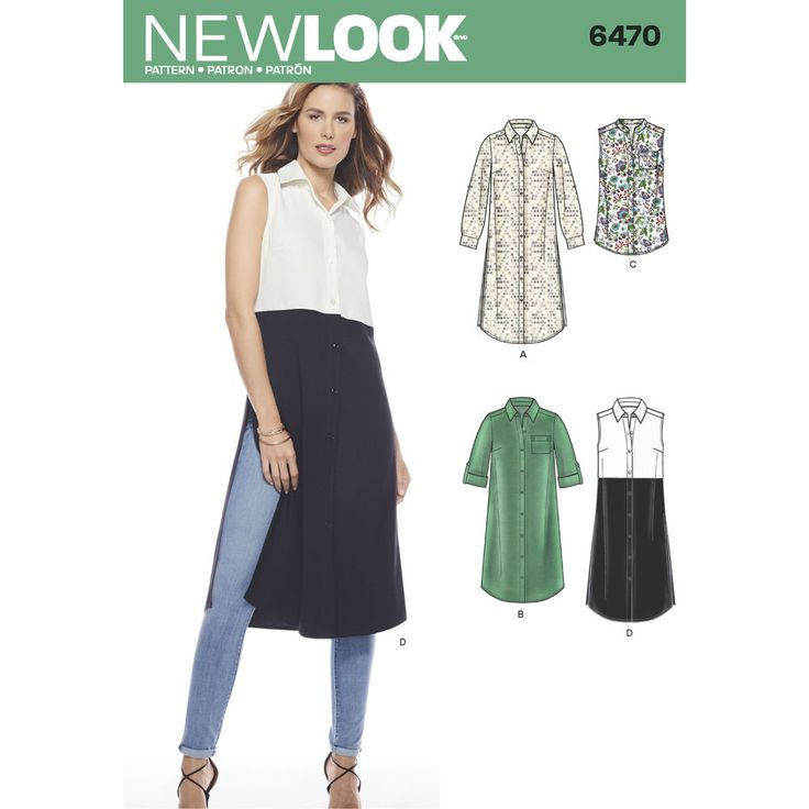 Button front tunics and dresses for misses can be timeless wardrobe staples, or modern pieces with long slits and contrast fabrics. New Look sewing pattern.