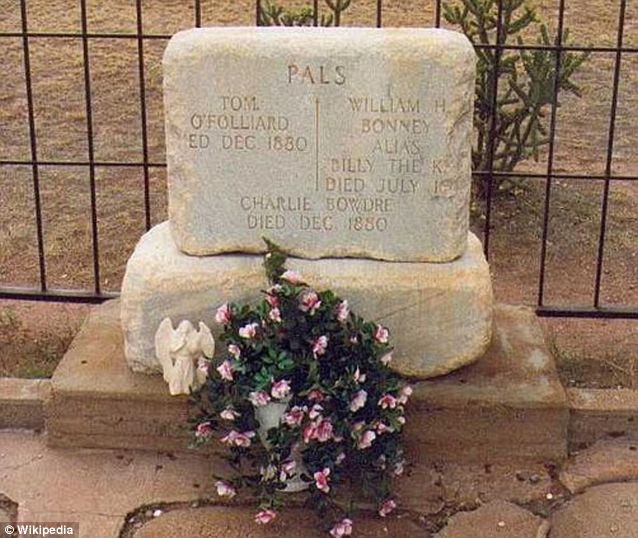 The Billy the Kid tombstone in Fort Sumner, New Mexico prior to it being vandalised earlier this month http://www.dailymail.co.uk/news/article-2166543/Thieves-vandalise-Billy-Kids-grave-tipping-2-000-pound-tombstone-night-time-museum-raid.html#