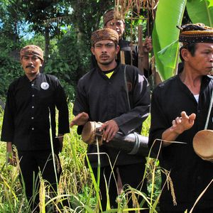 Sekelompok lelaki memainkan alat musik di tepian sawah di dekat bendungan Sungai Ciganas dalam acara peresmian pembangkit listrik milik warga. Mereka merupakan bagian dari paguyuban kesenian Desa Ciptagelar, Kasepuhan Adat Banten Kidul.