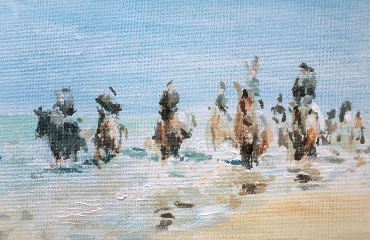 Straö rieën. Belgische trekpaarden op het Zeeuwse strand. 26x20cm. Maart 2016