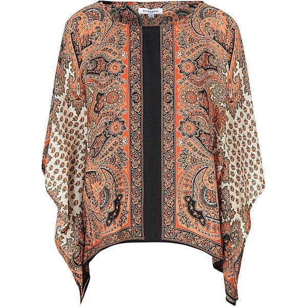 Rust Scarf Print Batwing T Shirt (£20) ❤ liked on Polyvore featuring tops, t-shirts, brown, oversized tops, batwing t shirt, slouchy tee, scarf print top and slouchy tops