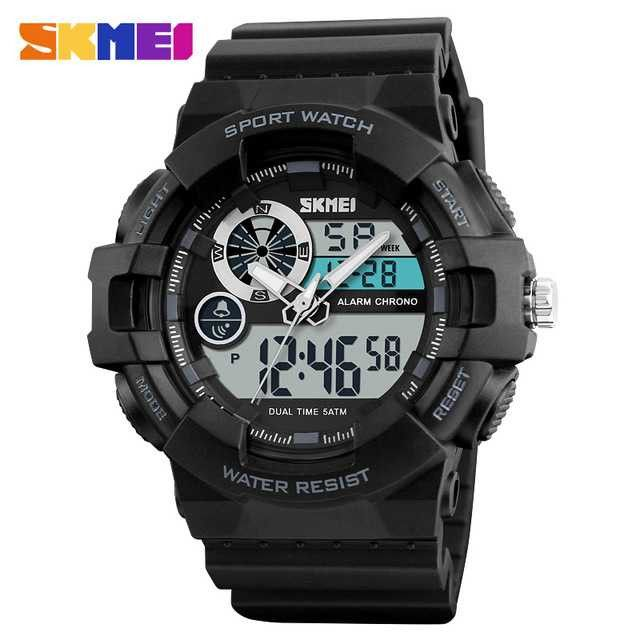 Jam Tangan Pria Dual Time SKMEI Sport LED Watch Original AD1312