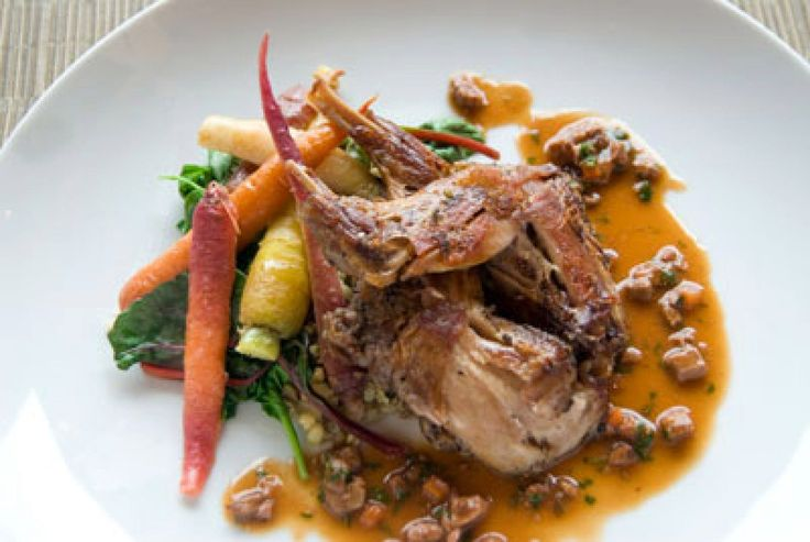 Tender, honey-glazed braised rabbit legs make for a satisfying meal, and they're easily paired with any seasonal vegetables. This dish is a staple on the menu at American Grocery, where chef Joe Clarke glazes the rabbit legs with local honey.