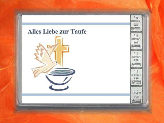 5 x 1g Silberbarren zur Taufe mit Motiv der Taube und Taufbecken