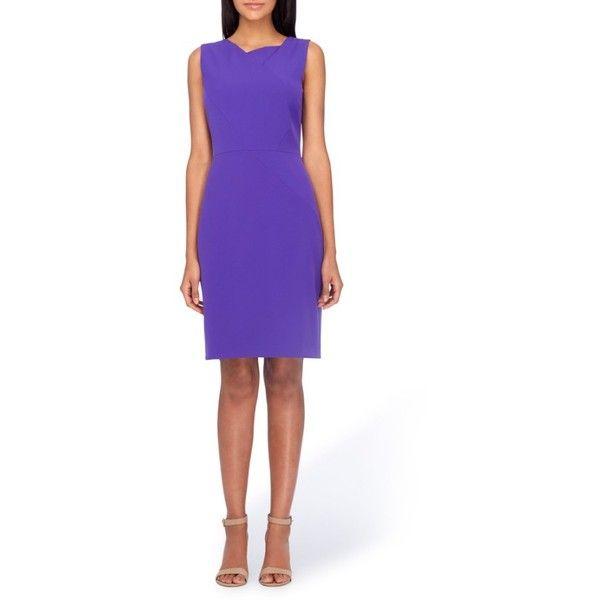 Women's Tahari Asymmetrical Sheath Dress ($128) ❤ liked on Polyvore featuring dresses, petite, violet, asymmetrical sheath dress, purple dress, sheath dresses, stretch dresses and purple cocktail dresses