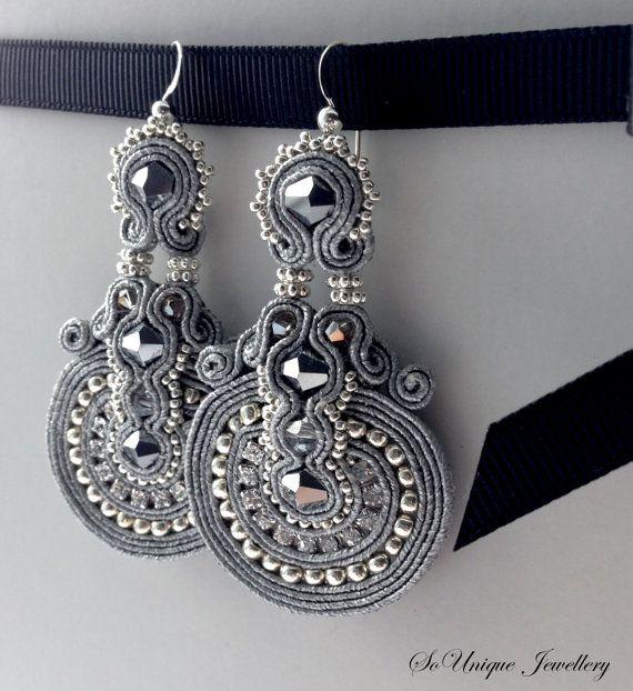 Frozen beauty  Silver coloured soutache earrings by SouniqueJewellery. Only £15