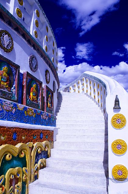 Stairway into Ladakh: what the ruins of Egypt and Greece must have looked like - have heard they were painted bright colors