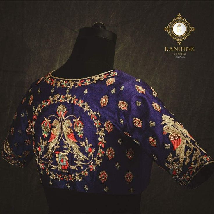The excellence of every art is its intensity John Keats. Beautiful designer blouse with pair of parrots design hand embroidery thread work. 06 February 2018