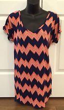 Xhilaration Womens Chevron Muliticolor TOP XL Shortsleeve Shirt Blouse Open Back   eBay