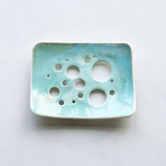 Soap dish aqua glaze white porcelain bubble holes by VanillaKiln, £14.00