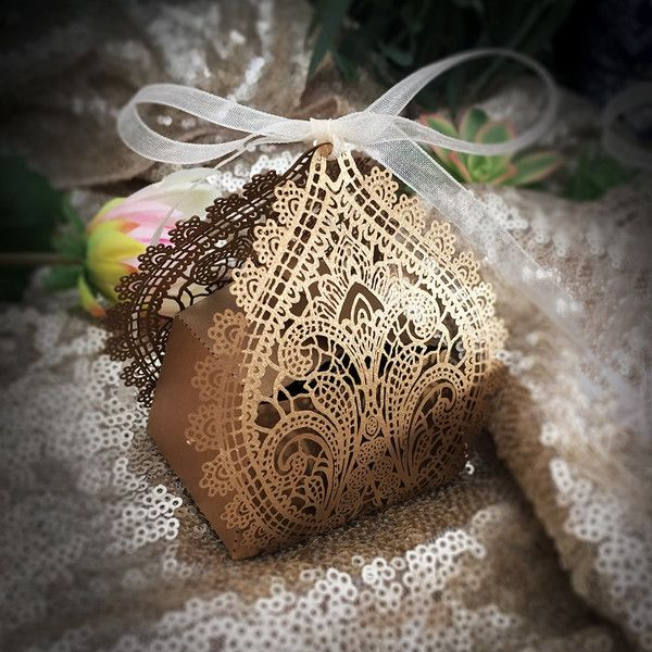 This Chantilly Lace Favor Box could be the finishing touch to a beautiful table setting and will set a refreshing and romantic ambiance. This can hold a truffle, small candies, or even an LED tea-ligh