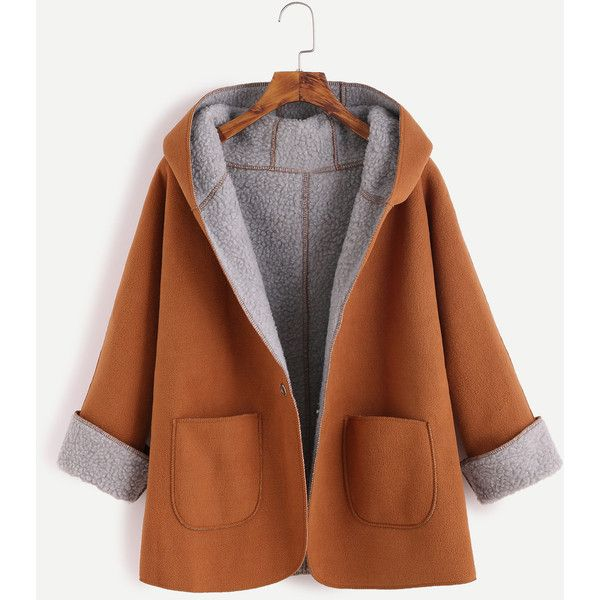 Khaki Contrast Sherpa Lining Single Button Hooded Coat ($20) ❤ liked on Polyvore featuring outerwear, coats, jackets, khaki, leather-sleeve coats, one button coat, brown coat, short sleeve coat and khaki coats