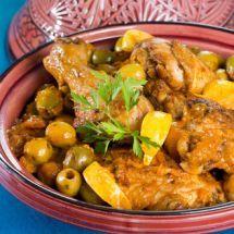 Tajine de poulet aux olives et citron confit sur Recettes.net
