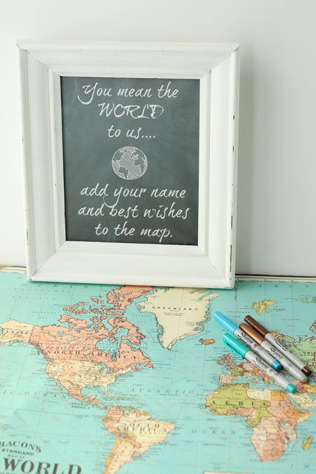 A travel map is such a unique way for wedding or party guests to sign in and write their best wishes