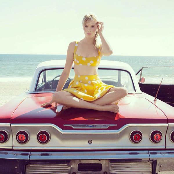 Not sure what we want more: Ireland Baldwin's retro bralette-and-matching-skirt outfit, or the vintage car she's sitting on.