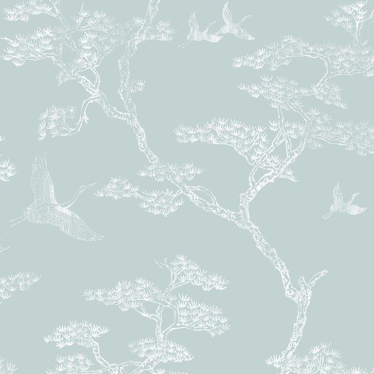 Richmond Duck Egg & White Trees & Birds Metallic Wallpaper   Departments   DIY at B&Q
