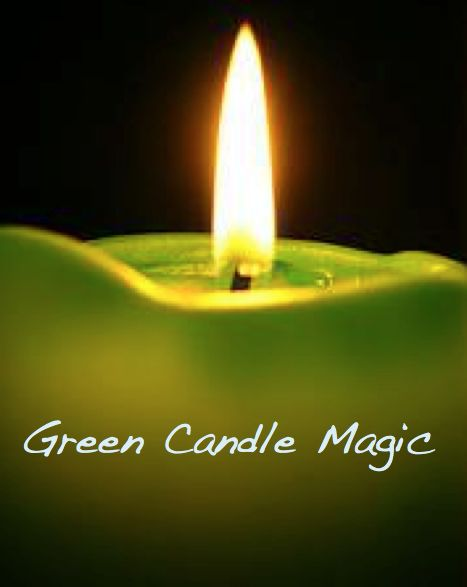 Green Candle Magic. Use for spells for money, financial issues, good fortune, prosperity, success and healing. Use with mint and basil for prosperity spells and with camphor or eucalyptus oil for healing spells.