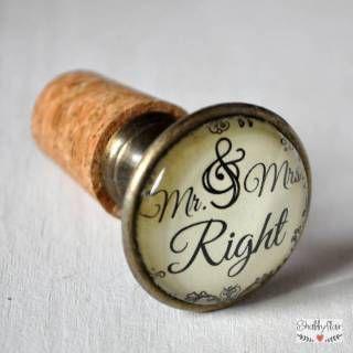 Mr. & Mrs. Right Flaschenkorken im Vintage Style erhältlich bei Shabbyflair